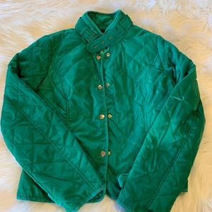 Nwot green quilt style jacket